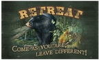 Retreat Black Bear Wood Sign