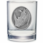 Rhinoceros Pewter Accent Double Old Fashion Glasses, Set of 2
