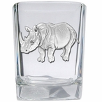 Rhinoceros Pewter Accent Shot Glasses, Set of 4