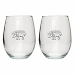 Rhinoceros Pewter Accent Stemless Wine Glass Goblets, Set of 2