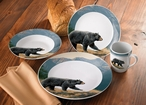 Ridgeline Walking Bear Porcelain Dinnerware Set 16 Piece