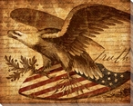 Right of Truth Eagle on Shield Wrapped Canvas Giclee Print