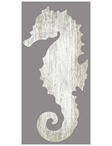 Right White Seahorse Silhouette Vintage Style Metal Sign