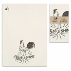 Rise and Shine Rooster Bird Tea Towels, Set of 4