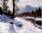 River Landscape in Winter Wrapped Canvas Giclee Print Wall Art