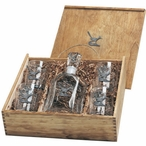 Roadrunner Bird Capitol Decanter & DOF Glasses Box Set with Pewter