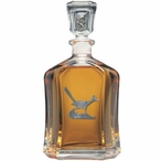 Roadrunner Bird Capitol Glass Decanter with Pewter Accents