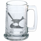Roadrunner Bird Glass Beer Mug with Pewter Accent