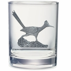 Roadrunner Bird Pewter Accent Double Old Fashion Glasses, Set of 2