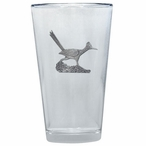 Roadrunner Bird Pint Beer Glasses with Pewter Accent, Set of 2