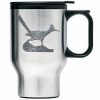 Roadrunner Bird Stainless Steel Travel Mug with Handle & Pewter Accent