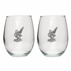 Roadrunner Pewter Accent Stemless Wine Glass Goblets, Set of 2
