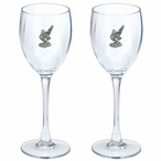 Roadrunner Pewter Accent Wine Glass Goblets, Set of 2