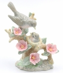 Robin Bird Family with Wild Roses Sculpture