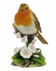Robin Perching on a Branch with Flowers Bird Sculpture