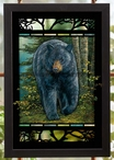 Rocky Outcrop Black Bear Stained Glass Wall Art