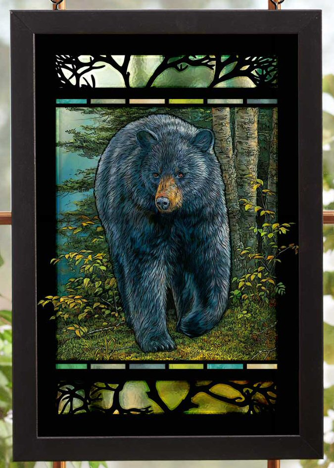 Beau Rocky Outcrop Black Bear Stained Glass Wall Art