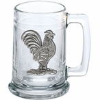 Rooster Bird Glass Beer Mug with Pewter Accent