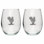 Rooster Bird Pewter Accent Stemless Wine Glass Goblets, Set of 2