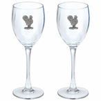 Rooster Bird Pewter Accent Wine Glass Goblets, Set of 2