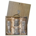 Rooster Bird Pilsner Glasses & Beer Mugs Box Set with Pewter Accents