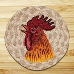 Rooster Braided Jute Coasters, Set of 8