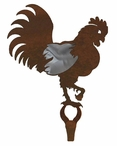 Rooster Burnished Large Single Metal Wall Hook