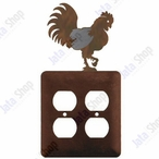 Rooster Double Metal Outlet Cover