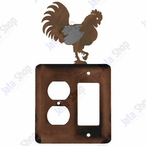 Rooster Double Metal Outlet Cover with Single Rocker