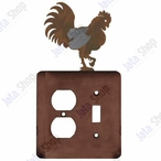 Rooster Double Metal Outlet Cover with Single Toggle