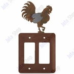 Rooster Double Rocker Metal Switch Plate Cover