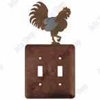 Rooster Double Toggle Metal Switch Plate Cover