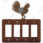 Rooster Quad Rocker Metal Switch Plate Cover