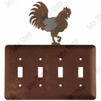 Rooster Quad Toggle Metal Switch Plate Cover