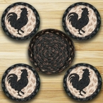 Rooster Silhouette Braided Jute Coasters and Basket Holder, Set of 10