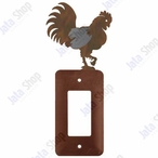 Rooster Single Rocker Metal Switch Plate Cover