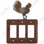 Rooster Triple Rocker Metal Switch Plate Cover