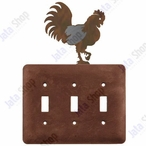 Rooster Triple Toggle Metal Switch Plate Cover