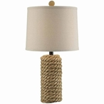 Rope Bolt Rope and Resin Table Lamp with Natural Linen Shade