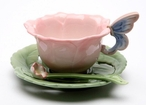 Rose Porcelain Cups, Saucers and Spoons, Set of 6