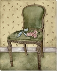 Roses on a Chair Wrapped Canvas Giclee Print Wall Art