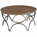 Round Bengal Manor Mango Wood and Steel Cocktail Table
