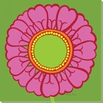 Round Flower Pink Zinnia Wrapped Canvas Giclee Print Wall Art