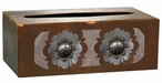 Round Silver Concho Metal Flat Tissue Box Cover