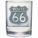 Route 66 Pewter Accent Double Old Fashion Glasses, Set of 2