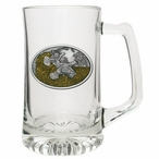 Ruffed Grouse Amber Glass Super Beer Mug with Pewter Accent