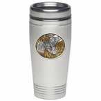Ruffed Grouse Amber Stainless Steel Travel Mug with Pewter Accent