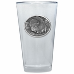 Running Buffalo Pint Beer Glasses with Pewter Accent, Set of 2