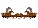 Burnished Running Horse and Moon Metal Curtain Rod Holders