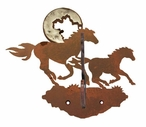Burnished Running Horses Double Metal Wall Hook
